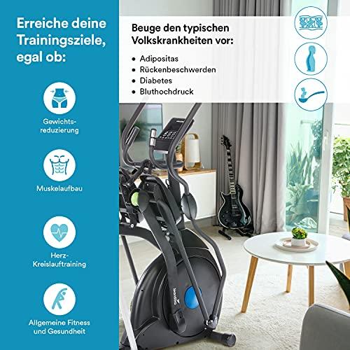 skandika Crosstrainer CardioCross Carbon Champ Ellipsentrainer mit 24,5kg Schwungmasse, Magnetbremssystem | Multifunktionscomputer, Bluetooth, Tablet-Halterung, Kinomap | bis 150kg - 7
