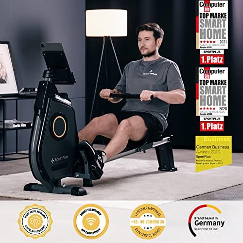 SportPlus Ruderergometer für zuhause, App-Steuerung, klappbar, leises Magnetbremssystem, ca. 8kg Schwungmasse, 24 computergesteuerte Widerstandsstufen, Nutzergewicht bis 150kg - 2