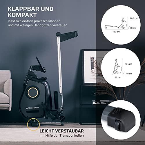 SportPlus Ruderergometer für zuhause, App-Steuerung, klappbar, leises Magnetbremssystem, ca. 8kg Schwungmasse, 24 computergesteuerte Widerstandsstufen, Nutzergewicht bis 150kg - 5