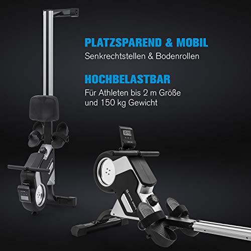 Capital Sports Stream M1 Magnetrudermaschine Rudergerät Rowing Machine, hocheffizientes Training, 8-stufiger Magnetwiderstand, 105 cm Lange Aluminium-Gleitbahn, schwarz - 3