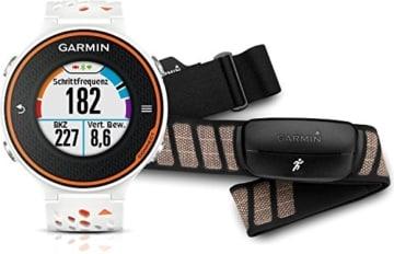 Garmin Forerunner 620 GPS-Laufuhr – weiss/orange – inklusive Herzfrequenz Brustgurt und Geschwindigkeits-/Trittfrequenzsensor