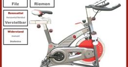 AsVIVA S7 Indoor Cycle Cardio VII Speedbike mit 18kg Schwungscheibe (Filzbremsen und Riemenantireb, inkl. Multifunktionscomputer, sowie Getränkehalter und Trinkflasche, günstig vom Testsieger) -
